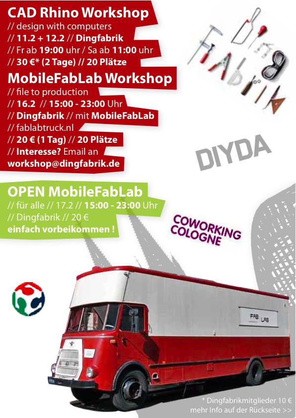 MobileFabLab klein01 CAD Rhino Workshop am 11./12. Februar | Dingfabrik Köln