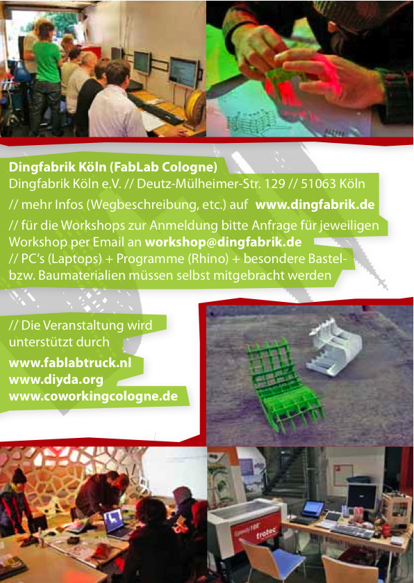 MobileFabLab klein02 CAD Rhino Workshop am 11./12. Februar | Dingfabrik Köln