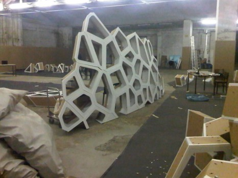 Object Raumschaum von Florian Gassmann im Aufbau