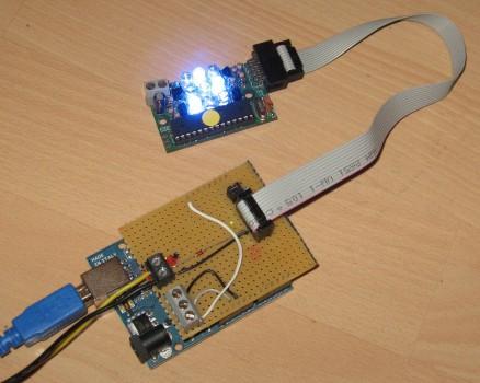 Beispielaufbau Arduino mit Fnordlicht-Shield