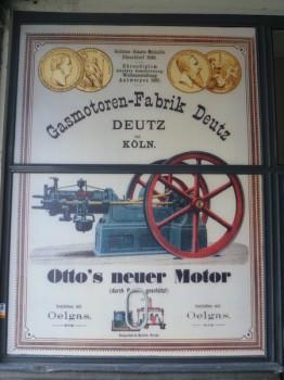 Alte Werbetafel zur Gasmotorenfabrik Deutz als Plakat im Eingangsbereich